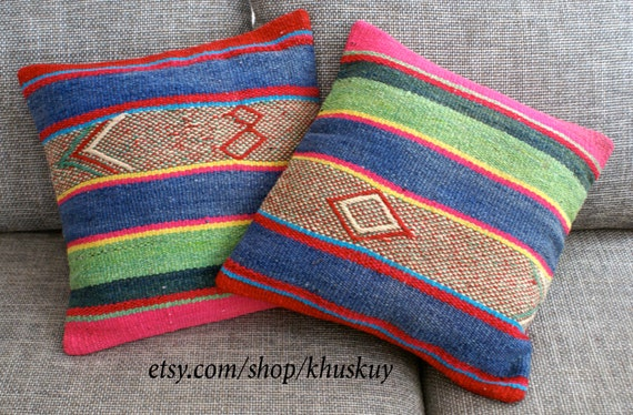 peruvian pillow covers set of 2 striped 16 x 16 sheep wool. Black Bedroom Furniture Sets. Home Design Ideas