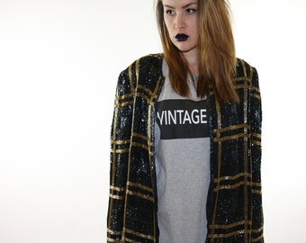 Black and Gold sequin jacket