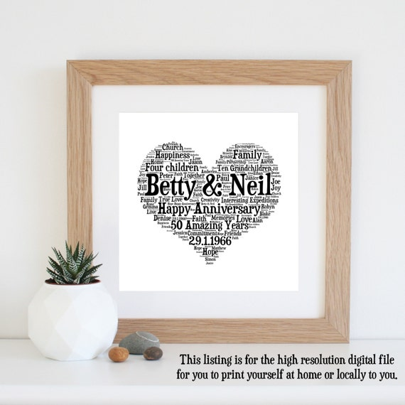 Personalised 50th Wedding Anniversary Gifts: Personalised 50th WEDDING ANNIVERSARY GIFTS Word By