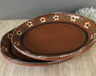 Vintage Terracota platter| redware oval platter | set of two platters | terracotta plate | redware plate | vintage red ware