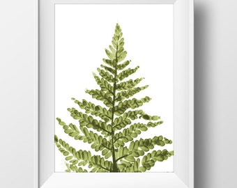 Printable fern print, botanical print, Printable Art, fern art, hand painted art, botanical art , fern prints, watercolor print, nature art