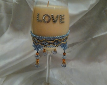 vanilla scented wine glass soy candle