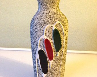 Mid Century Speckled Fat Lava Vase