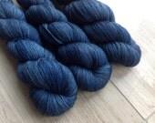 Sapphire Sky Posh Lace with Free Sakura Stole Pattern: hand-dyed 70/20/10 Baby Alpaca Silk Cashmere Yarn