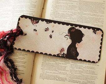 Bookmark - Bookmark with fibers - illustrated bookmark - Miss Shadow - Tattoo Girl