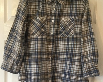 Vintage Cotton Plaid Flannel Shirt in White, Blue and Brown