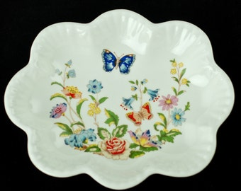 "Vintage Aynsley ""Cottage Garden"" Bone China Dish with Scalloped Edges"