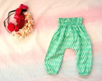 Harem Pants - turquoise chevron