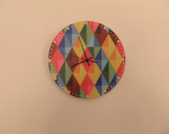 Checked wall clock, diagonal dial-plate, big numbers, Coloured wall clock nurcery decor,, uy wall clock, child gift. gft for children