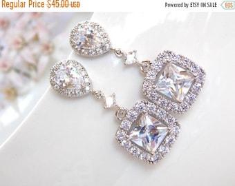 SALE Wedding Jewelry, Silver, Cubic Zirconia, Bridal Jewelry,Bridal Earrings,Bride Earrings, Bridesmaids Gifts, Bridesmaid Earrings, Dangle,