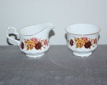Queen Anne Bone China floral sugar and creamer, servingware, tea set, coffee accessories