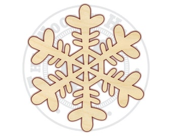 "Snowflake 4""-12"" - Wood Cutout  - 160234 - Unfinished wood"