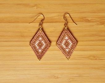 Loops Muan Mocha gold plated and glass Miyuki beads weaving