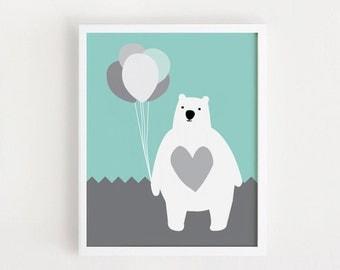 Poster bebe INSTANT DOWNLOAD Cute Bear Printable art Baby Bear animal illustration Kawaii children room art print nursery art