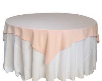 Blush Table Overlays 72 x 72 inches, Table Overlays for 5 ft Round Tables, Square Blush Tablecloths | Wholesale Table Linens, Wedding Decor