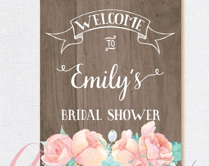 Welcome Bridal Shower Sign. Wood Welcome sign. Printable wood poster. Wood bridal shower sign. Welcome bridal shower sign. Rustic sign