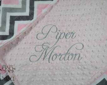 Arrows Blanket, Personalized Baby Blanket, Personalized Minky Blanket, Pink Blanket, Chevron Blanket, Choose Your Size & Color