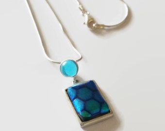 Necklace/Pendant Sterling Silver - Blue Honeycombe Pendant - Dichoric Sterling Silver Pendant - Blue Sterling Silver Fused Glass Pendant