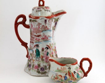 Chocolate Pot and  Creamer, Hand Painted Japanese Geisha Girls, Garden, and Landscape Scenes