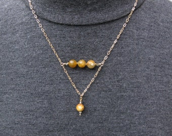 Delicate, Gold Plated Necklace with Neutral Stones