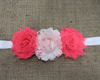 Neon Pink and White Polka Dot Headband, Fluorescent Pink Headband