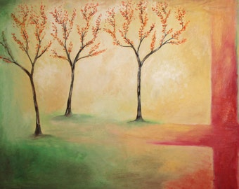 Large Vintage Abstract Oil Painting Landscape Trees