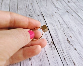 Ring adjustable - cube ring in gold