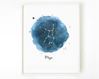 Virgo Constellation Painting Print, Zodiac Art Print, Astronomy Art, Watercolor Print