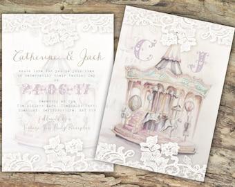 Personalised Rustic Vintage Carousel Postcard Wedding Invitations