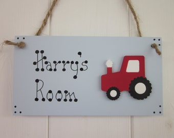 Tractor personalised name girls boys baby bedroom nursery door sign plaque