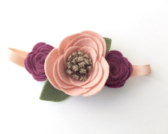 Trio rose headband, felt flower headband, felt rose headband, rose quartz, raspberry, bronze glitter