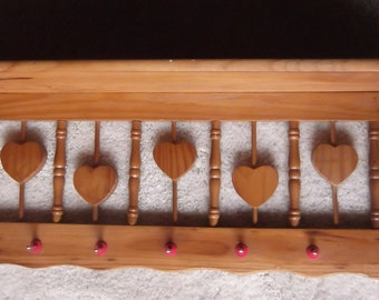 Hearts Wooden Wall Shelf