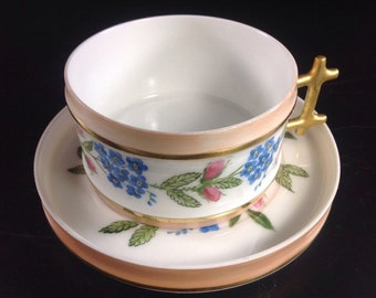 Beautiful Hand Painted Aesthetic Period Cup And Saucer With Pink Roses And Forget Me Nots Very Nice Gilding
