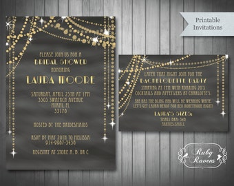 Great Gatsby inspired Bridal Shower Invitation, Gatsby bachelorette party invite, Bridal shower string light invitation, chandelier invite