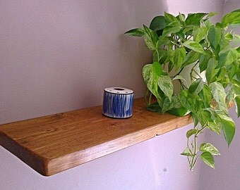 Floating Shelves, Wooden Shelves, Wall Shelf - English Oak Wax - ** FREE UK DELIVERY **