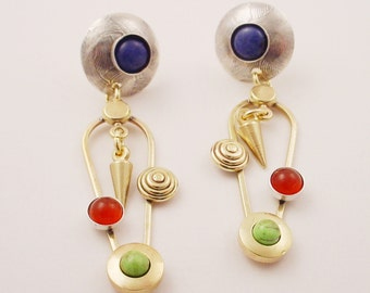 Sterling and Brass Dangle Earrings with Sodalite, Carnelian, Gasperite, and Brass Cone Dangles - Posts