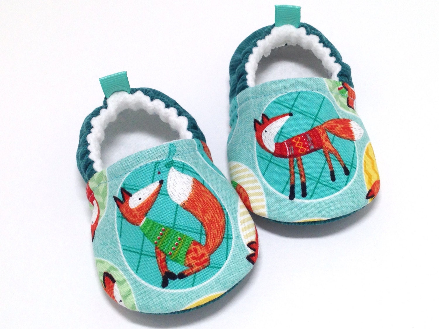 Fox Baby Shoes Soft Sole Baby Shoes Teal Baby