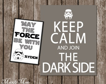 Keep Calm And Join The Dark Side, Star Wars Birthday, Star Wars Decorations, May The Force Be With You Thank You, Printable, Digital File