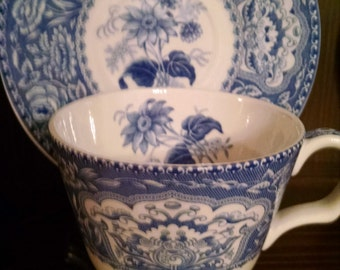 spode blue room floral cup and saucer