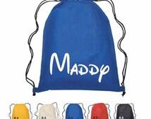 Disney, Mickey Mouse, Magic Kingdom, Customized  Printed Disney Cinch Bag Personalized