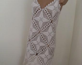 Unique  sexy  crochet dress, ivory color, bridal dress