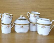 Vintage German Winterling Coffee Set of 4 cups, Sugar Pot and Creamer / Milk Jug - Winterling Bavaria - Porcelain - Gold trim