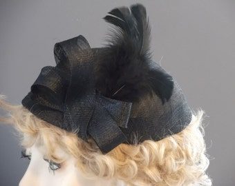 Hand made, small black sinamay cap, mini sinamay hat, black sinamay and feathers, one size, hand blocked, tea party, luncheon, church, races