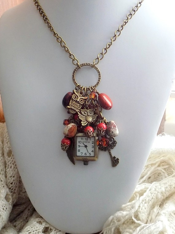 Steampunk Clock Necklace Owl Necklace By Linda of Treasures of Jewels
