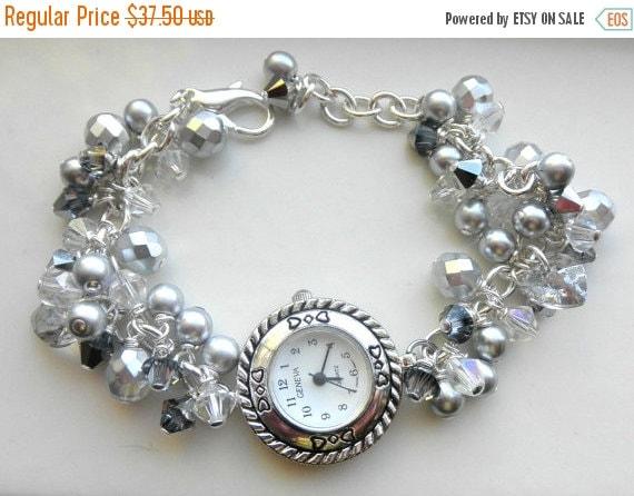 Victorian Silver Watch Bracelet,  Grey Pearl Bracelet,  Victorian Jewelry,  Edwardian Jewelry,  Holiday Jewelry