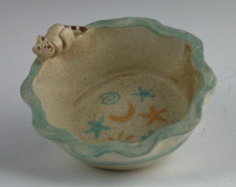 Cat Baby Bowl, Handmade Stoneware Dish by Arizona artist, Karlene Voepel.  Sold Individually.