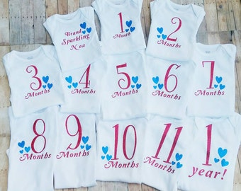 monthly bodysuit set - baby bodysuit set - baby shower gift - Baby girl outfit - girl baby clothes - brand sparkling new - baby photo props