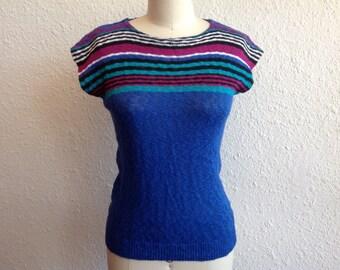 1970s Blue striped knit top