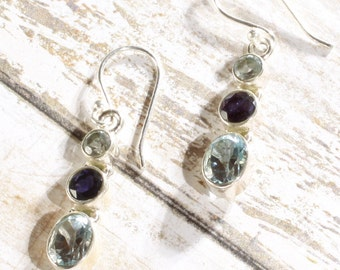 Dainty 925 Sterling Silver Iolite and Blue Sapphire Gemstone Earrings, 1 1/2 inch Long