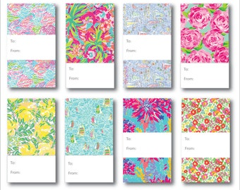Lilly Pulitzer Inspired Gift Tags - instant download - 8 per page